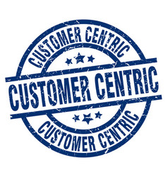 Customer centric blue round grunge stamp vector