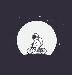 cute astronaut rides on bicycle on moon background vector image