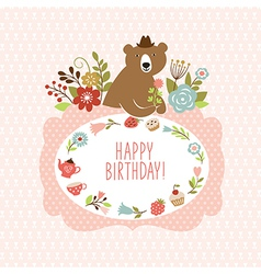 cute Bear with flowers vector image