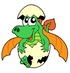 cute dragon in egg vector image