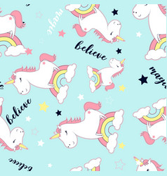 Cute unicorn and magic icons seamless pattern vector
