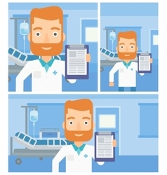 Doctor with clipboard and MRI machine vector image