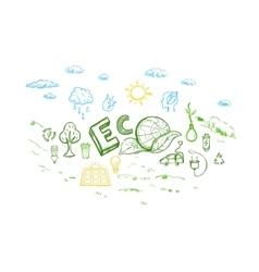 Ecology Energy Sketch Elements Set vector image