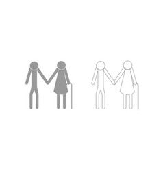 elder people stick grey set icon vector image