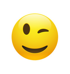 Emoji yellow smiley winking face vector