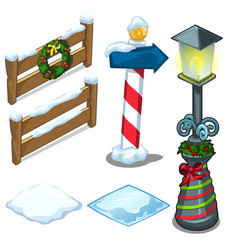 Fence lamp street sign decorated for christmas vector