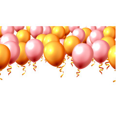 festive color golden balloon party background vector image