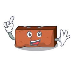 finger brick mascot cartoon style vector image