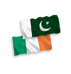 Flags ireland and pakistan on a white vector
