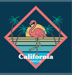 flamingo sunset print vector image