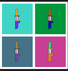 Flat icon design collection military knife vector