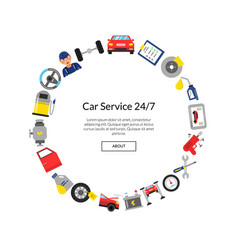 flat style car service elements in circle vector image