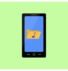 Flat style smart phone with music folder vector