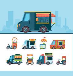 food truck set delivery cars festival transport vector image