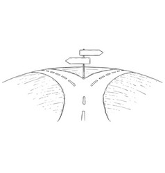 Fork in road empty arrow sign drawing vector