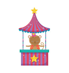 Funny circus monkey with hat in kiosk vector