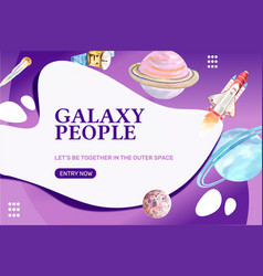 Galaxy frame design with saturn neptune satellite vector