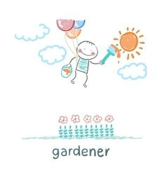 Gardener draws sun flower vector