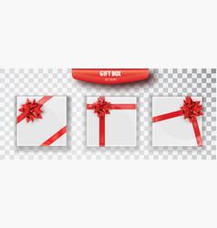 gift box set of white christmas gift boxes vector image
