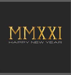 golden font 2021 logo monogram roman numerals vector image