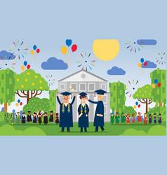 Graduation people in front vector