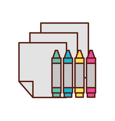 graphic design crayons and sheet tools vector image