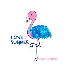 hand drawing flamingo print design with slogan vector image