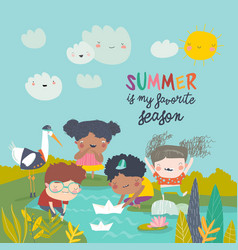 happy children play with paper boat hello summer vector image