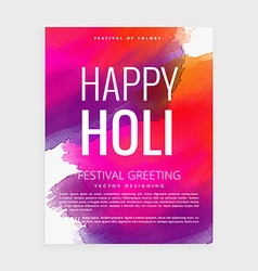 happy holi paint poster vector image