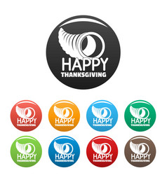 Happy thanksgiving corn icons set color vector