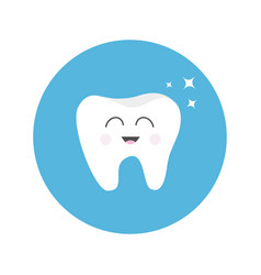 healthy tooth round icon with smiling face vector image