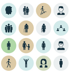 Human icons set collection of work man network vector