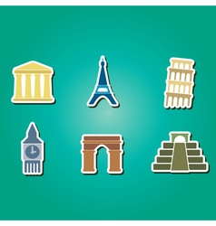 Icons with architectural monuments of world vector