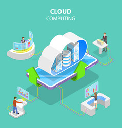 Isometric flat concept cloud computing vector