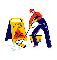 Janitor male character mopping and cleaning floor vector