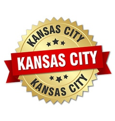 Kansas City round golden badge with red ribbon vector image