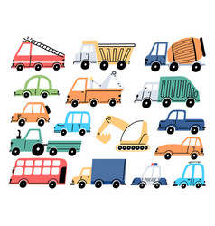 kids transport and cars construction tractor vector image