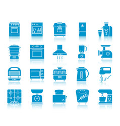 kitchen appliance color silhouette icon set vector image