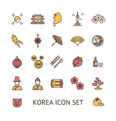korea sign color thin line icon set vector image