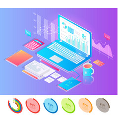 laptop surrounded with writing and working stuff vector image