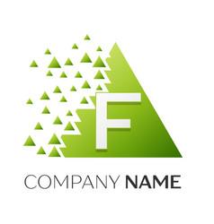 Letter f logo symbol in colorful triangle vector