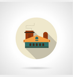 Light industry building flat round icon vector