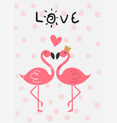 Love card pink flamingo in love kissing flat vector
