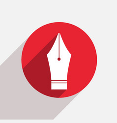 Modern fountain pen red circle icon vector
