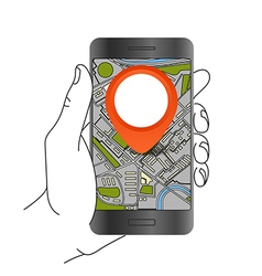 Modern smartphone with abstract city map Dark vector