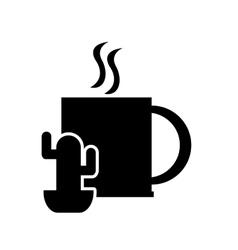 mug and cactus icon vector image