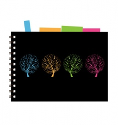 notebook cover design art tree vector image vector image