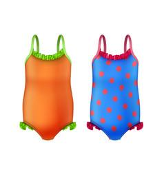 One-piece kids swimsuit vector