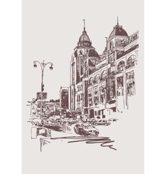 Original sepia digital sketch of Kyiv Ukraine vector