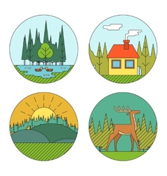Outdoor Life Symbol Lake Forest House Deer Duck vector